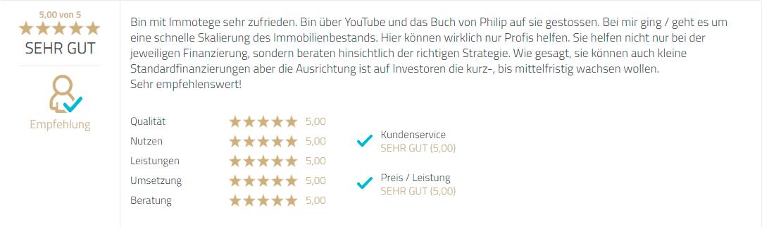 Immotege Bewertung Erfahrung ProvenExpert YouTube Buch sehr gut gute Philipp Scharpf