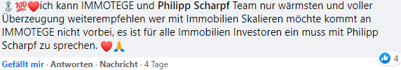 Philipp Scharpf Immotege Erfahrung Facebook Kommentar Ehrlich Immobilienfinanzierung investieren in Immobilien